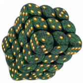 Green & Black 'Golden Recon' Speckled 12mm D6 Dice Block